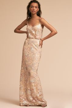 Kylie Dress from bhldn floral print bridesmaids dress - Allover graphic lace featuring a subtle metallic gleam is crafted into a striking blouson bodice and floor-skimming skirt. Printed Bridesmaid Dresses, Bridesmaid Dress Colors, Prom Dresses, Wedding Dresses, Floral Bridesmaids, Wedding Attire, Formal Dresses, Dresser, Kylie Dress