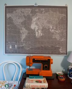 the world on my wall: gray vintage map quilt • Fluffyland Craft & Sewing Blog