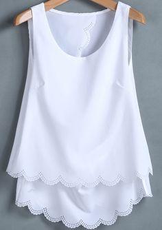 White Sleeveless Back Split Chiffon Vest pictures