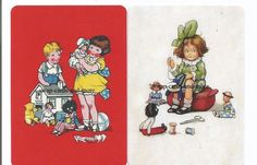 z95 PAIR swap playing cards MINT COND CUTE GIRLS WITH GOLLIWOGS