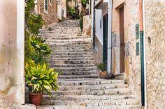 Your online guide to the Tramuntana region of Mallorca Roads And Streets, Yellow Brick Road, Balearic Islands, Moorish, Home And Away, Walkway, Beach Resorts, Pathways, Stairways