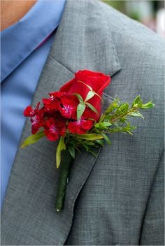 groom look and red boutonniere from wedding coordinated by O' Happy Day Events #ohhappyday #dayofcoordinator #weddingchicks http://www.weddingchicks.com/2014/02/26/o-happy-day-events