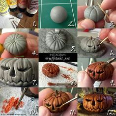 FREE TUTORIAL: polymer clay halloween pumpkin by Jeff Stahl Art