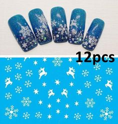 LimBridge 12 Sheet 3D Christmas Nail Art Sticker Decals, Snowflake Tips Decoration > Remarkable product available now. : Wall Stickers and Murals for Home Decor