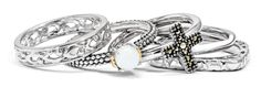 Stackable Expressions set featuring marcasite cross ring