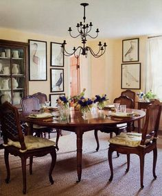 beautiful dining room in a Long Island house designed by Tom Scheerer.