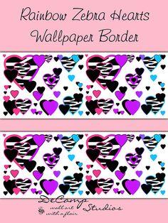 RAINBOW ZEBRA HEART Wallpaper Border Wall Art Decals Animal Print Teen Girl Bedroom Decor #decampstudios