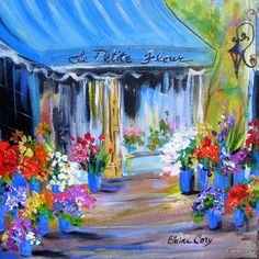 Le Petite Fleur  is an original painting done by me Elaine Cory. It is on a canvas 12 x 12 x 3/4. The sides are painted like the front. It si
