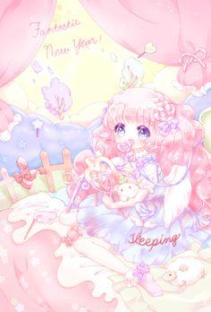 Fantastic new year! Cute Anime Chibi, Kawaii Chibi, Cute Anime Pics, Anime Girl Cute, Kawaii Art, Anime Galaxy, Manga Anime Girl, Kawaii Wallpaper, Kawaii Drawings