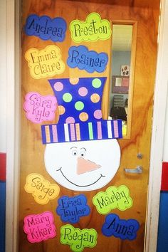 Cute winter classroom door! I love the font Girls are Weird!