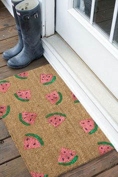 DIY Stamped Watermelon Welcome Mat - adorable!