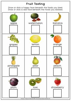 Fruit tasting worksheet, great to use for harvest resources. For more harvest re … – Artsupplies Harvest Activities, Autumn Activities, Preschool Activities, Fruit And Veg, Fruits And Vegetables, Fruit Fruit, Olivers Vegetables, Handas Surprise, Food Tasting