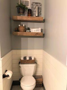 Floating Shelves Bathroom, Small Bathroom Storage, Wall Storage, Bathroom Shelves Over Toilet, Bathroom Organization, Toilet Closet, Rustic Shelves, Farmhouse Shelving, Bathroom Interior