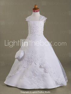 Ball Gown Capped Floor-length Satin Organza Flower Girl Dress - US$ 113.99