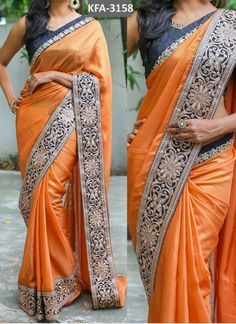 Buy Orange Paper Silk With Georgette With Lace Replica Saree