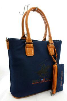 Borsa Shopping - bag ladies Beverly Hills Polo Club Art. BH-152 in Tela Blu