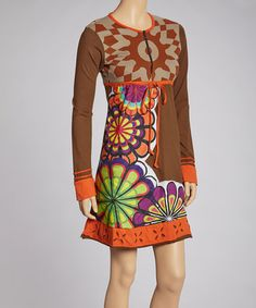 Take a look at this Brown & Orange Wynne Tunic by Luna Claire on #zulily today!