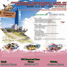 ALL-IN INCREDIBLE DISCOVERY TOUR OF AMUSEMENT PARK IN TAIWAN (With Round trip Airfare) Minimum of 2 persons  For more inquiries please call: Landline: (+63 2)282-6848 Mobile: (+63) 918-238-9506 or Email us: info@travelph.com #Taiwan #TravelPH #TravelWithNoWorries Travel Companies, Travel Tours, Round Trip, Amusement Park, Travel Agency, Manila, Tour Guide, Philippines, Discovery