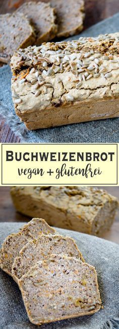 Buchweizenbrot (vegan + glutenfrei) This delicious buckwheat bread is durable for many days and has just the right mix of crispy and moist. A healthy recipe for a naturally gluten-free and vegan bread Buckwheat Bread, Vegan Bread, Buckwheat Gluten, Muffins Sains, Bread Recipes, Vegan Recipes, Paleo Postre, Healthy Muffins, Paleo Dessert
