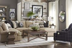 Rooms We Love - Bassett Furniture - just a different print on the arm chair!