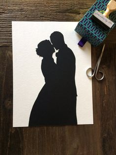 Custom Anniversary Paper Portrait 8 by 10 Wall Art - First Anniversary Paper Gift Silhouette Pictures, Couple Silhouette, Wedding Silhouette, Silhouette Portrait, Silhouette Art, First Anniversary Paper, 8th Wedding Anniversary Gift, Gift Wedding, Wedding Dress