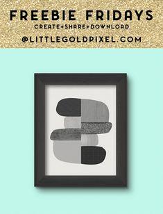 Midcentury Modern B&W Abstract Art Printable / Freebie Fridays • Little Gold Pixel
