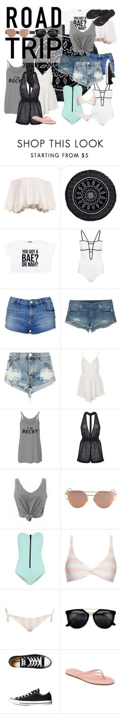 """road trip!!!!!!!!!!!!!"" by basic-queen ❤ liked on Polyvore featuring The Beach People, Araks, Topshop, True Religion, One Teaspoon, Lisa Marie Fernandez, Solid & Striped, Converse, LC Lauren Conrad and Havaianas"