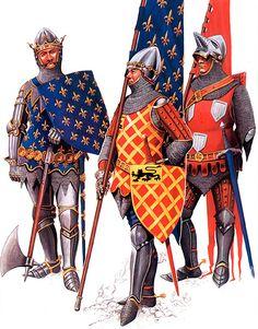 • King Jean II ('the Good') of France  • Sir Eustace de Ribeaumont, standard bearer at Poitiers  • Sir Geoffrey de Chargny, Oriflamme bearer at Poitiers