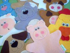 Fantoche infantil fazendinha.  PREÇO UNITÁRIO.  Ótima opção de lembrança de festas!!!  Podemos fazer as cores que preferir!!!  O tamanho da base (mão) é de 16X16 cm. Os tamanhos são diferenciados pelos detalhes de cada bichinho.  Serve apenas em mãos de crianças, não servem em mão de ad...