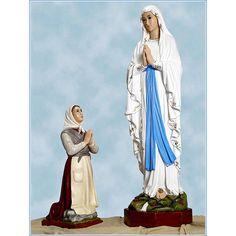 Virgen de Lourdes y Bernadette Landi Real Image Of Jesus, Statues, Lady Of Lourdes, Fibre, Our Lady, Disney Characters, Fictional Characters, Disney Princess, Painting