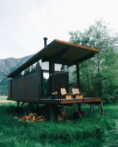 "Dream casa (@dream_casa) on Instagram: ""Does anyone know who created this tiny house? #tinyhouse #guesthouse #artstudio #cabin"""