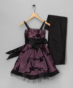 Dusty Rose Floral Bow Dress & Black Shawl - Girls