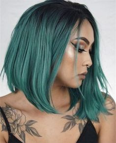 netgo Bob Wig Ombre Wigs Short Straight Synthetic Hair Full Wig for Women - Fashion Cheap Lace Front Wigs, Bob Lace Front Wigs, Synthetic Lace Front Wigs, Synthetic Wigs, Green Hair Ombre, Grey Blonde Hair, Green Wig, Blue Ombre, Ombre Bob