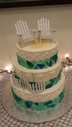 Sea glass wedding cake from Veronica's Sweet Cakes in Marshfield, MA. Almond cake with raspberry filling and butter cream frosting.