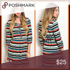 Cream, Jade and Rust Dress Stripe dress. Dresses Long Sleeve