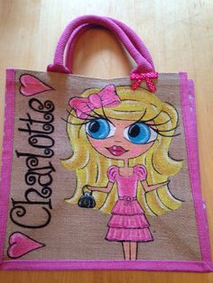 Personalised Hand Painted Childs Jute Bag