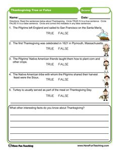 Thanksgiving True or False Worksheet First Grade Activities, Teaching First Grade, First Grade Math, Thanksgiving Worksheets, Thanksgiving Traditions, Rules For Kids, Have Fun Teaching, Number Worksheets, Student Work