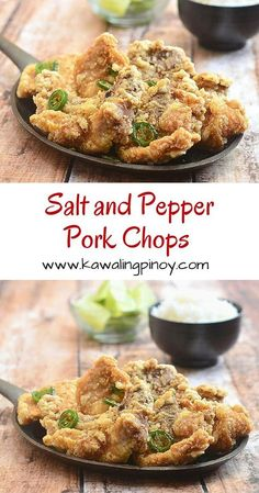 and Pepper Pork Chops Tender meat, crisp coating and full flavor, these salt and pepper pork chops are better than take-out!Tender meat, crisp coating and full flavor, these salt and pepper pork chops are better than take-out! Pork Chop Recipes, Meat Recipes, Asian Recipes, Cooking Recipes, Easy Filipino Recipes, Pork Pieces Recipes, Sushi Recipes, Spinach Recipes, Recipies