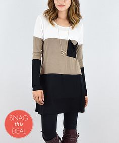 Another great find on #zulily! Mocha Color Block Pocket Tunic by éloges #zulilyfinds