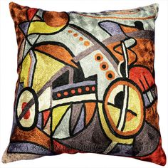 DECORATIVE SYMPHONY ACCENT Silk PILLOW COVER Modern Artist Wassily Kandinsky used the form of concentric circles to portray the soul. Here, the Kashmiri handcrafted interpretation of Kandinsky's Composition VI has elements of seed, of ovum, of birth and rebirth, the latter of which was a central theme in the composition. Rendered here as chain stitch embroidery in art silk, this cushion cover can create a new personality for any room in which you choose to use it.