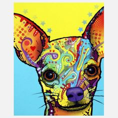 "The patterns and colors added into this chihuahua looks abstract and very ""funky"" in a good way. It adds such a powerful color scheme to the whole art in a positive way."