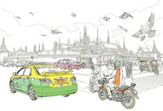 Hello Bangkok by Ise Ananphada, via Behance Sketch Painting, Watercolor Sketch, Composition Painting, Thai Design, Cool Anime Guys, Thai Art, Thai Style, Baby Dogs, Chiang Mai