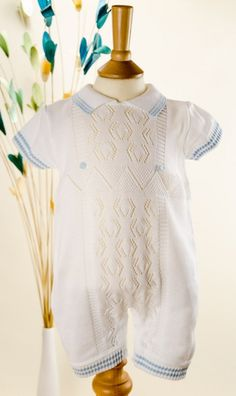 7cbc9ceb3198 Pretty Originals Style JP51000 Knitted Romper with Pale Blue Trim  Christening Gowns For Boys
