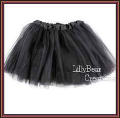 Girls Black Tutu Skirt Holiday Tutu Game Day by LillyBearCreations