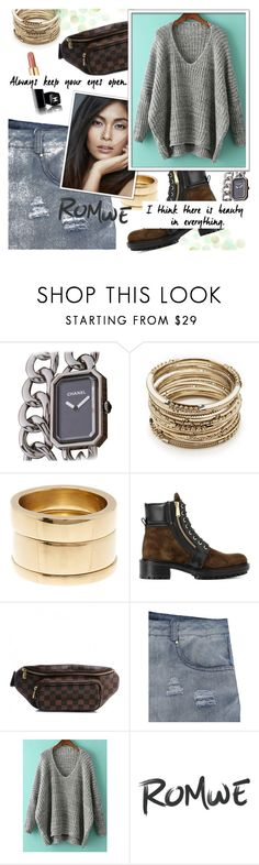 """""""【ROMWE】"""" by horus-kn ❤ liked on Polyvore featuring Chanel, Sole Society, SOKO, Balmain and Louis Vuitton"""