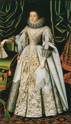 Lady Diana Cecil, daughter of William Cecil, 2nd Earl of Exeter.  Lady Diana married first Henry de Vere, 18th Earl of Oxford, and second, Thomas Bruce, 1st Earl of Elgin. She died without issue.  Portrait by William Larkin.