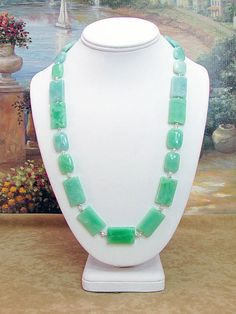 Sea Green Jade and Crystal Necklace J16 by daksdesigns on Etsy