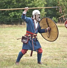 High status Jutish warrior with period weaponry.  From the Weorod reenactment site.