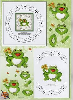 patron cartes brodees - Page 27 Paper Doll Craft, Doll Crafts, Paper Dolls, Paper Crafts, Stitching On Paper, Art Carte, Frog Crafts, 3d Sheets, Sewing Cards
