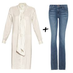 Longline Dress & Boot-Cut Jeans - Styling tip: Somewhere in between? Opt for a longline printed dress and boot-cut or straight-leg jeans for a flattering, slim silhouette.